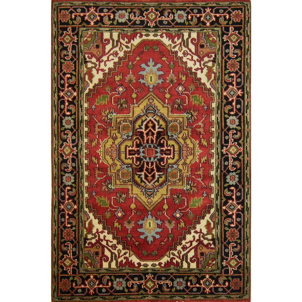 Hand-knotted Wool Heriz Rug 120cm x 181cm - House Of Haghi
