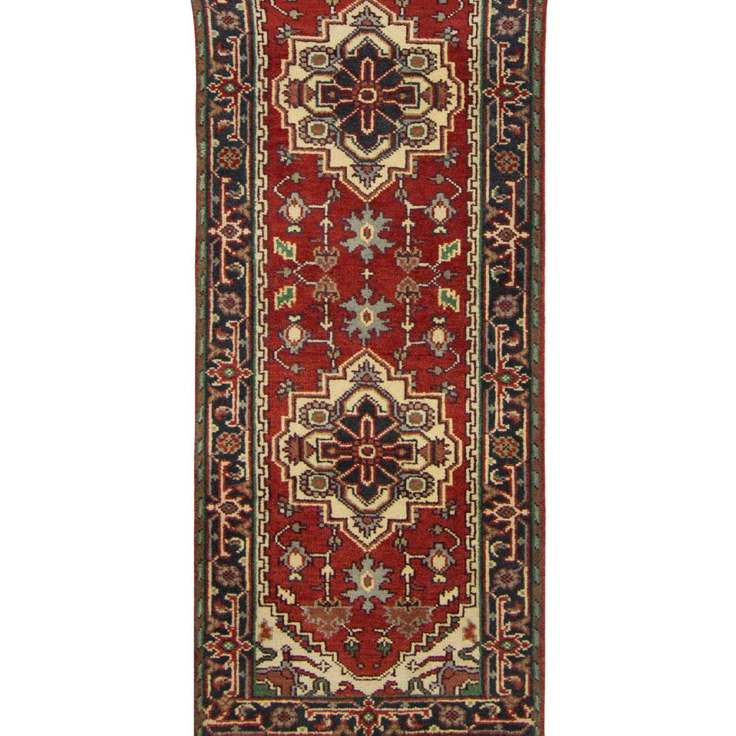 Hand-knotted Wool Persian Heriz Runner 80cm x 594cm - House Of Haghi