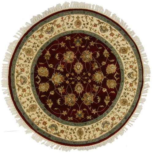 Fine Hand-knotted Wool & Silk Kashan Round Rug - House Of Haghi