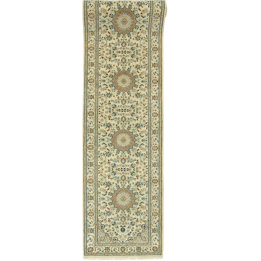 Authentic Fine Hand-knotted Persian Wool and Silk Nain Runner