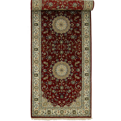 Fine Hand-knotted Wool & Silk Persian Nain Runner 82cm x 250cm - House Of Haghi