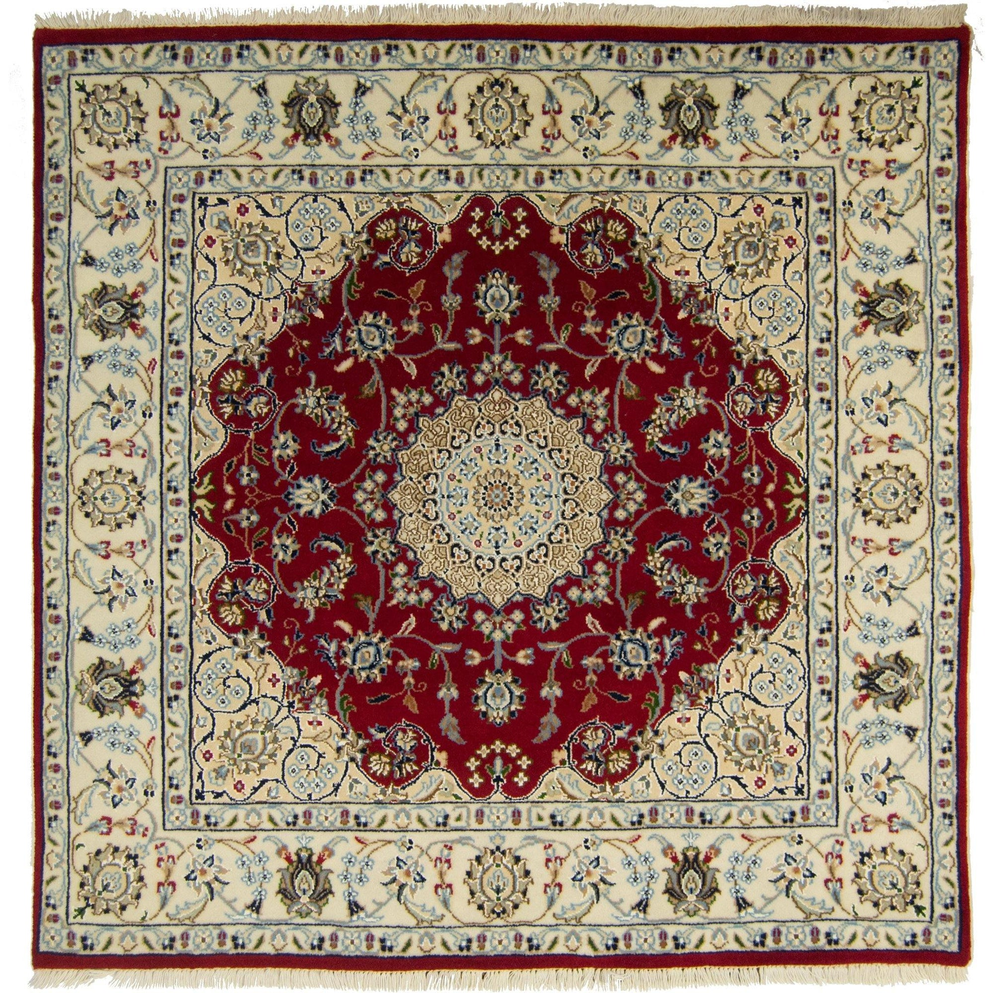 Fine Hand-knotted Wool and Silk Persian Nain Square Rug 125cm x 128cm Persian-Rug | House-of-Haghi | NewMarket | Auckland | NZ | Handmade Persian Rugs | Hand Knotted Persian Rugs