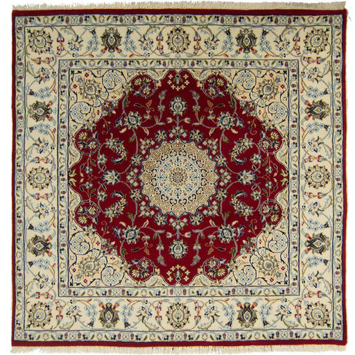 Fine Hand-knotted Wool & Silk Nain Rug 175cm x 182cm - House Of Haghi