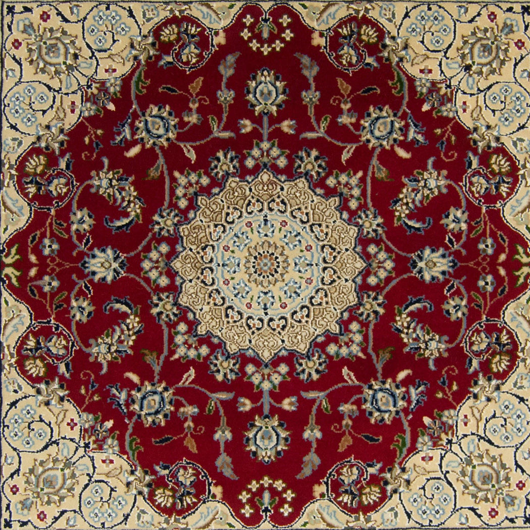 Fine Hand-knotted Wool & Silk Nain Rug 94cm x 98cm - House Of Haghi