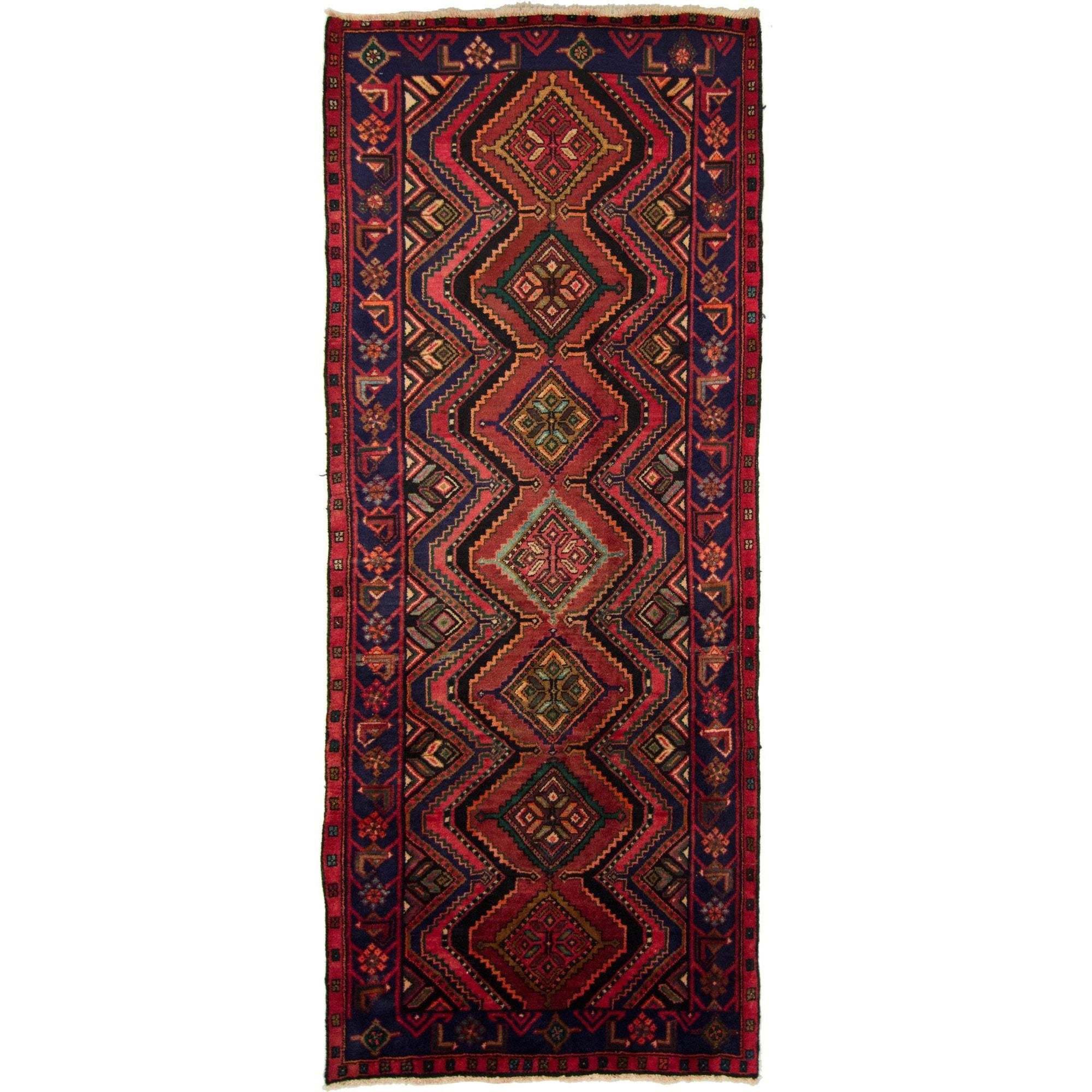 Hand-knotted Wool Tribal Persian Hamadan Runner 124cm x 293cm Persian-Rug | House-of-Haghi | NewMarket | Auckland | NZ | Handmade Persian Rugs | Hand Knotted Persian Rugs