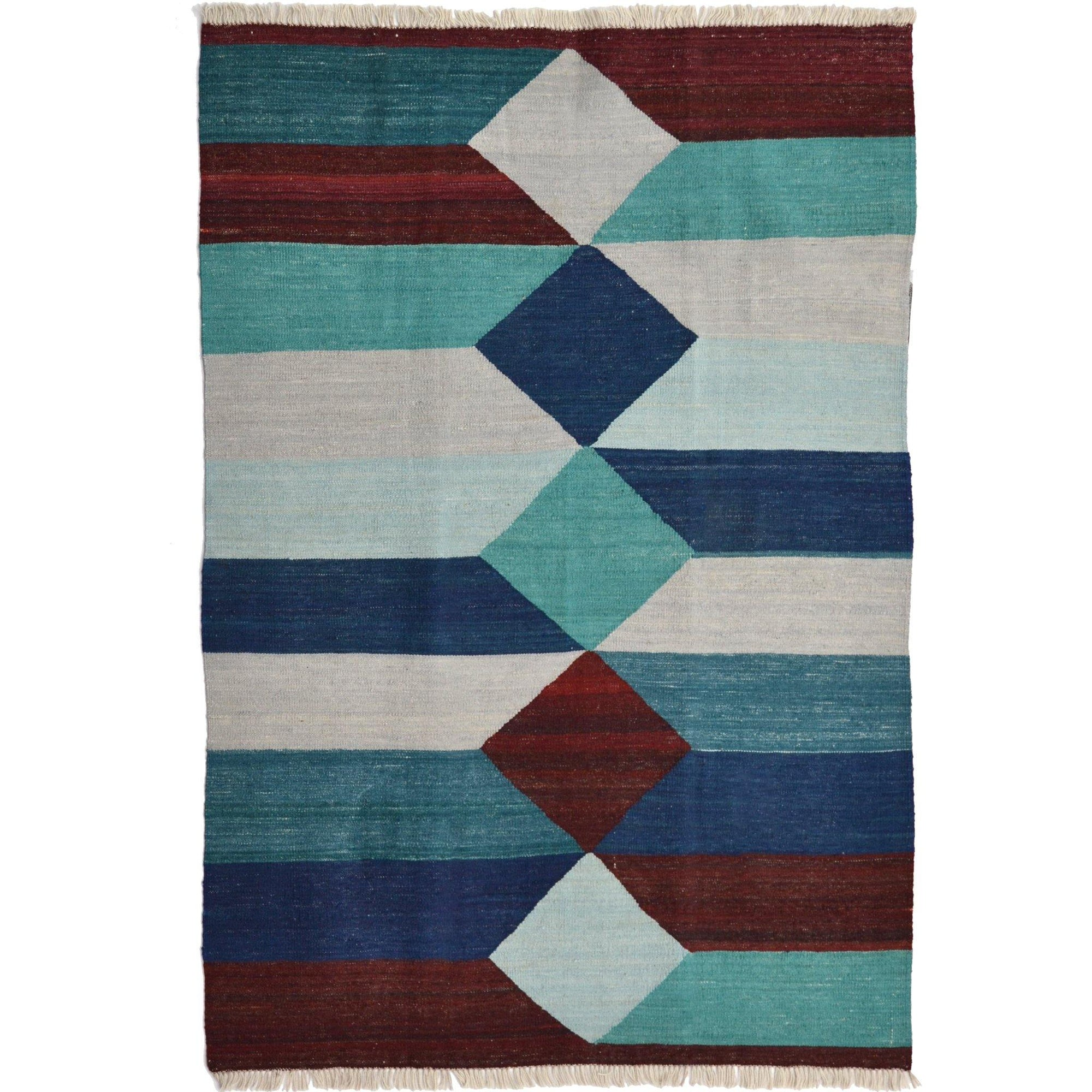 Modern Hand-woven 100% Wool Afghan Kilim Rug 128cm x 172cm Persian-Rug | House-of-Haghi | NewMarket | Auckland | NZ | Handmade Persian Rugs | Hand Knotted Persian Rugs