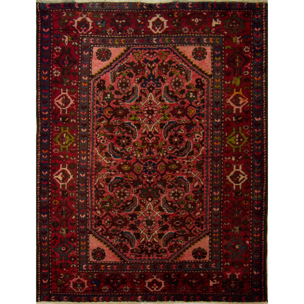 Authentic Persian Hand-knotted Wool Hamadan Rug 107cm x 142cm Persian-Rug | House-of-Haghi | NewMarket | Auckland | NZ | Handmade Persian Rugs | Hand Knotted Persian Rugs