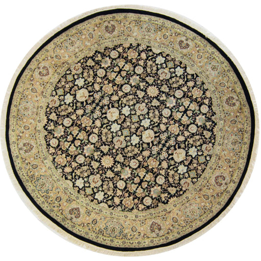 Fine Hand-knotted Wool and Silk Kashan Round Rug 244cm x 248cm - House Of Haghi