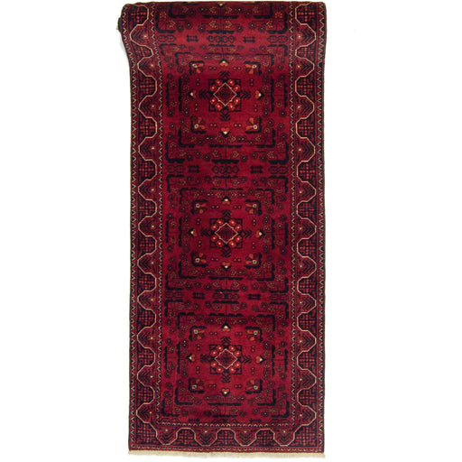Hand-knotted 100% Wool Tribal Afghan Khal Mohammadi Runner 75cm x 392 cm - House Of Haghi