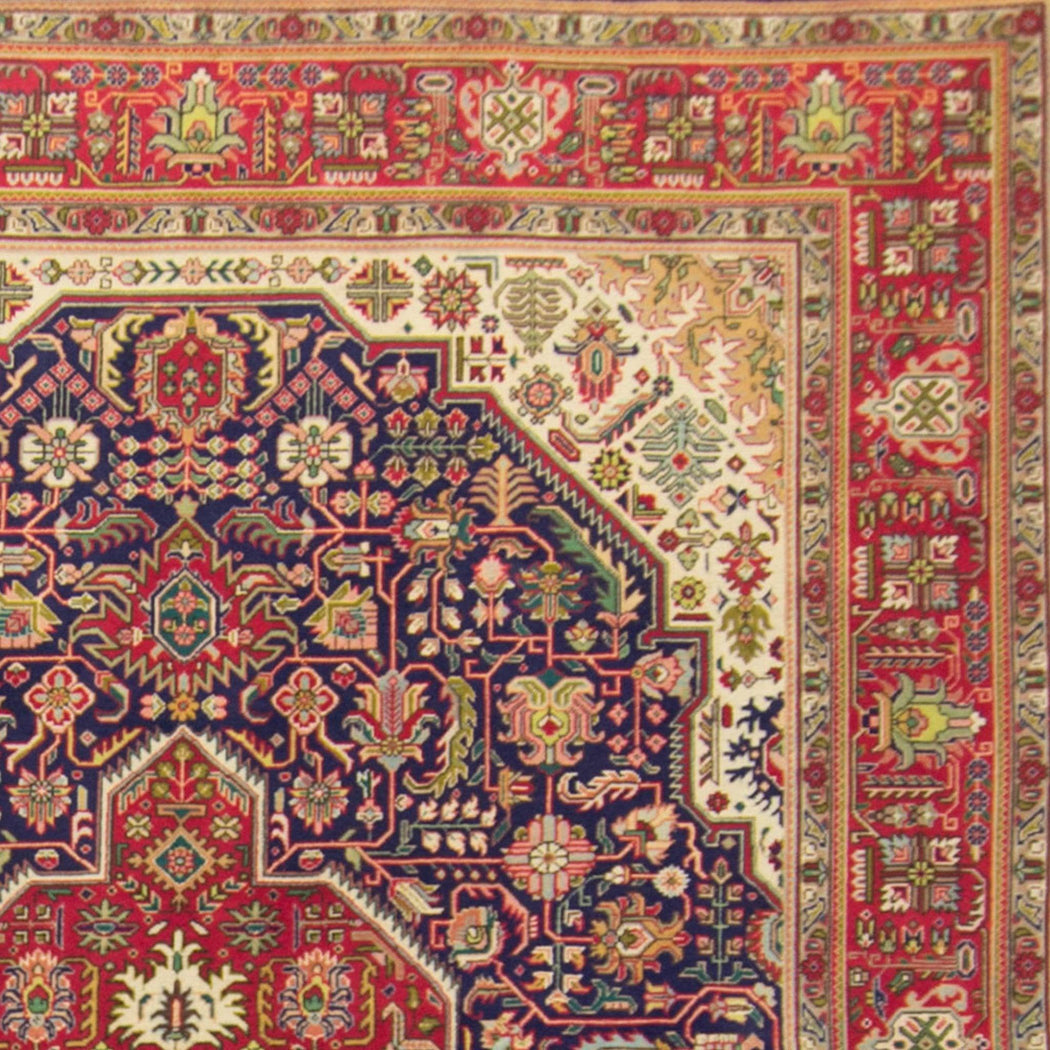 Fine Large Persian Hand-knotted Wool and Silk Tabriz Rug 293cm x 395cm - House Of Haghi