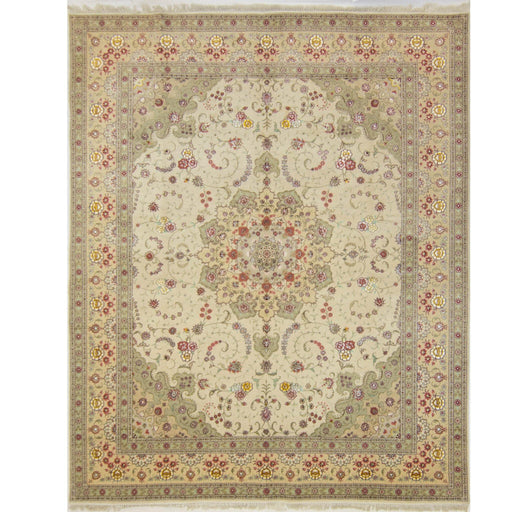 Find Hand-knotted Wool and Silk Tabriz Rug 244 cm x 305 cm - House Of Haghi