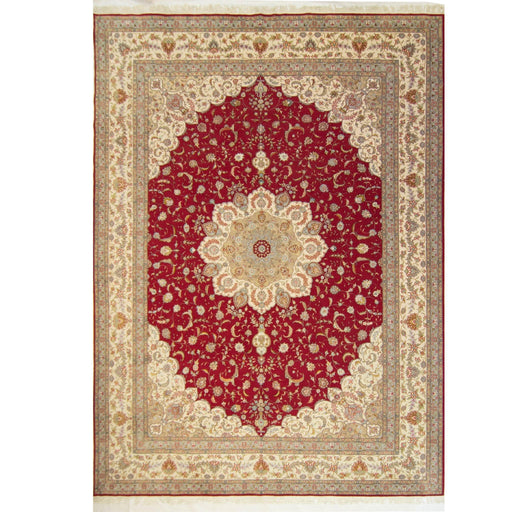 Fine Hand-knotted Wool and Silk Tabriz Rug 305 cm x 427 cm - House Of Haghi