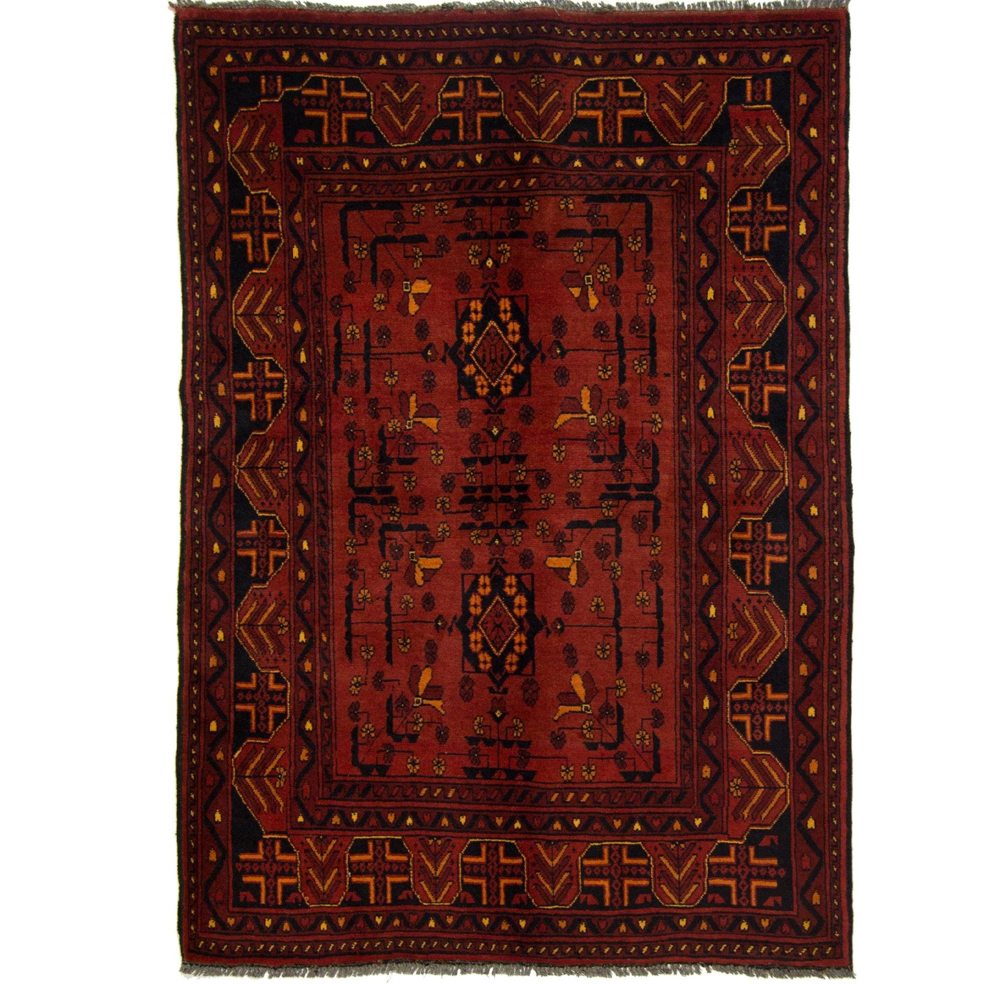 Fine Hand-knotted Wool Afghan Turkmen Rug 100cm x 139cm Persian-Rug | House-of-Haghi | NewMarket | Auckland | NZ | Handmade Persian Rugs | Hand Knotted Persian Rugs