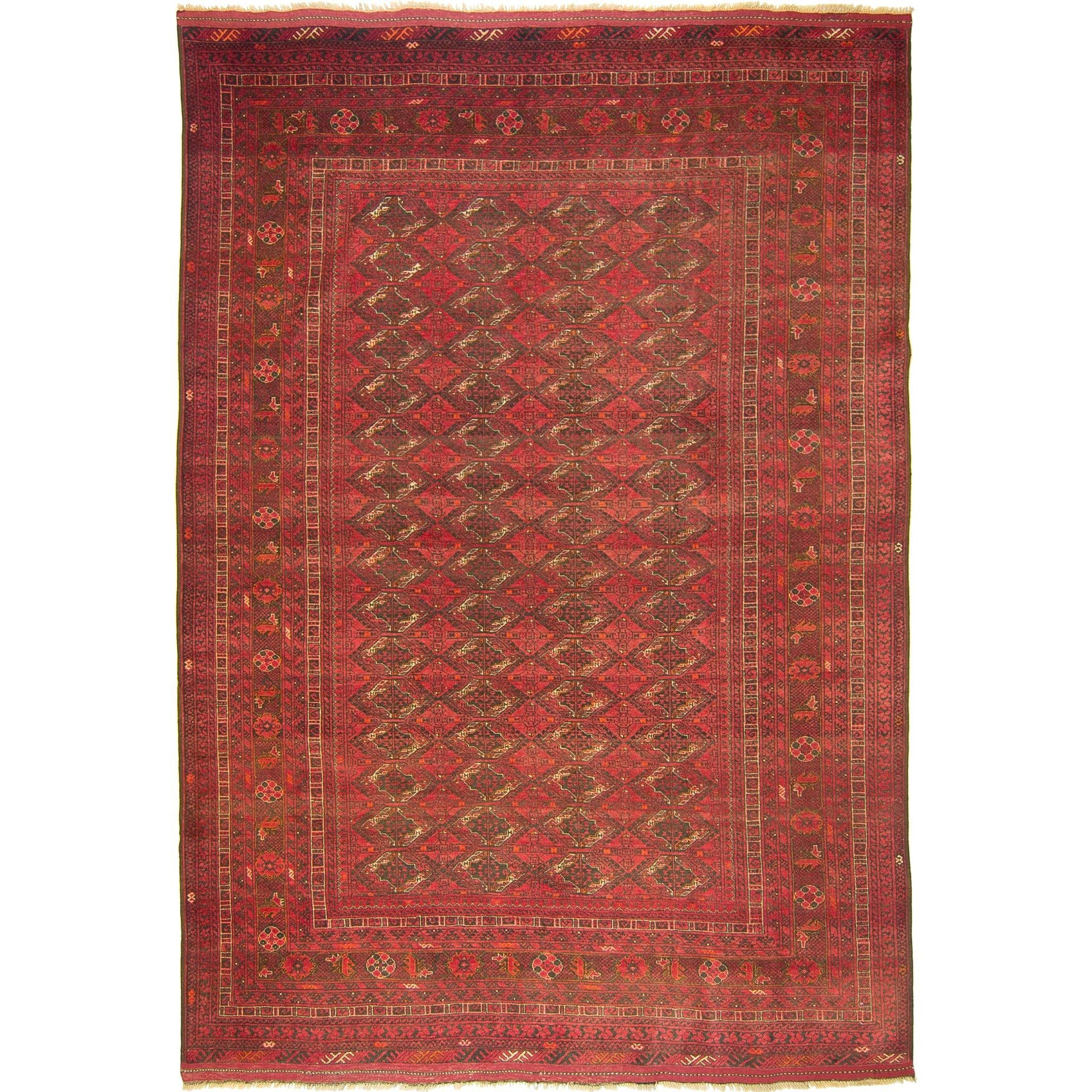 Vintage Hand-knotted Wool Afghan Tribal Turkmen Rug 202cm x  291cm Persian-Rug | House-of-Haghi | NewMarket | Auckland | NZ | Handmade Persian Rugs | Hand Knotted Persian Rugs