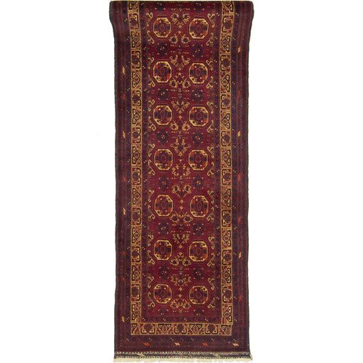 Fine Hand-knotted 100% Wool Afghani Turkmen Runner 82cm x 379cm - House Of Haghi