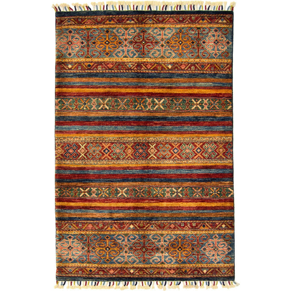 Hand-knotted Wool Tribal Khorjin Rug 103cm x 158cm - House Of Haghi