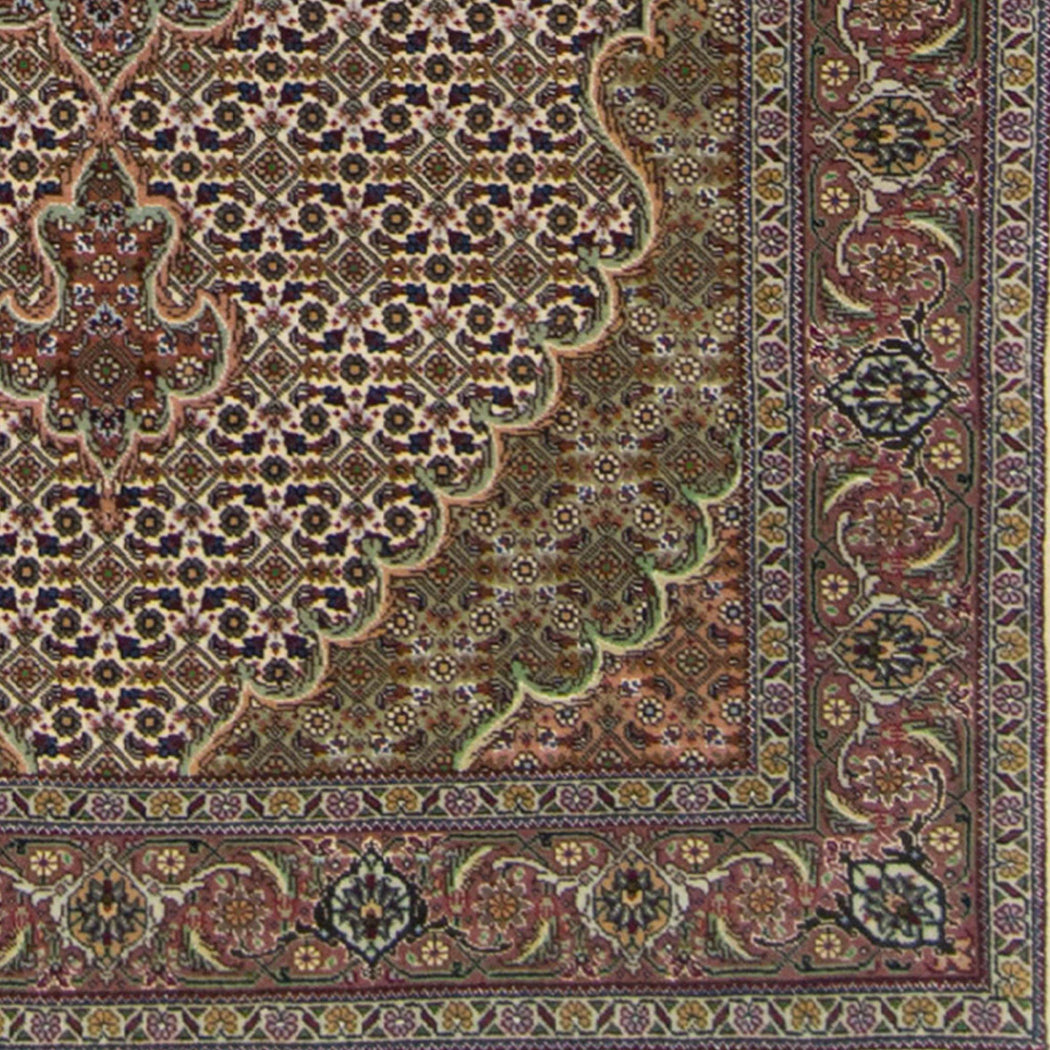 Super Fine Hand-knotted Persian Wool and Silk Tabriz - Mahi Rug 100 cm x 150 cm - House Of Haghi