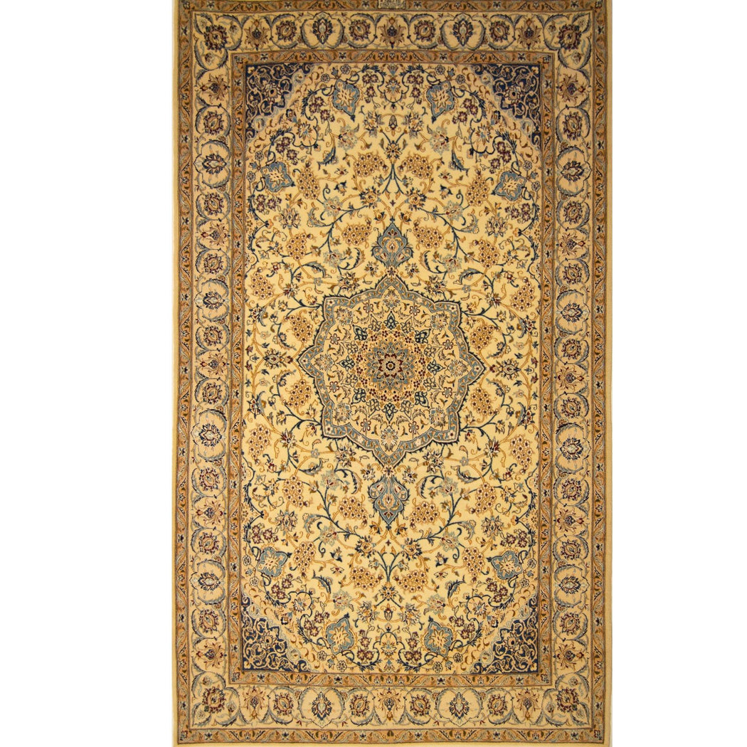 Fine Hand-knotted Persian Habibian Wool & Silk Nain Rug ( SIGNED) 137cm x 235cm - House Of Haghi