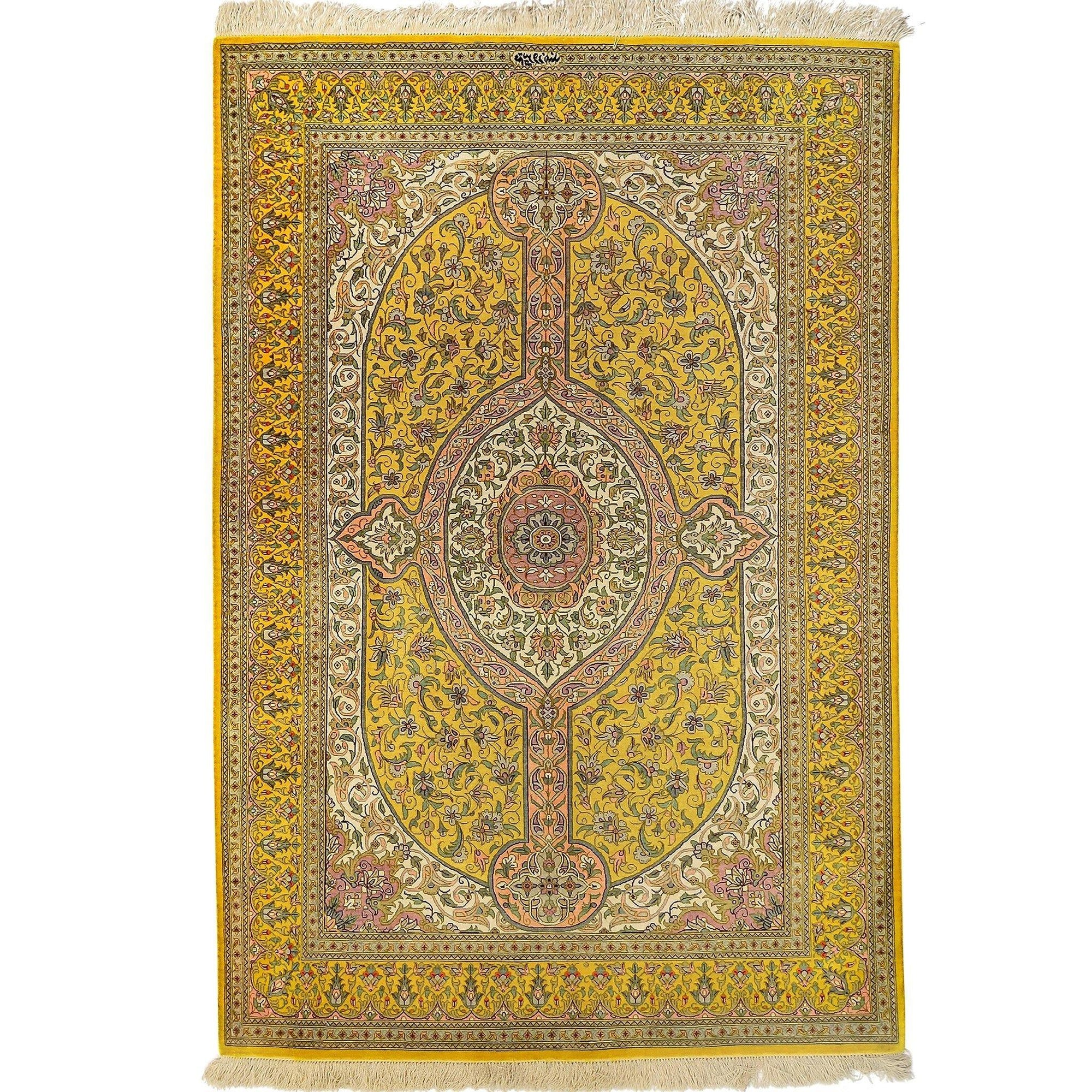 Fine Hand-knotted Persian Qom/Qum Silk Rug (Signed By Master Weaver)   100cm x 150cm Persian-Rug | House-of-Haghi | NewMarket | Auckland | NZ | Handmade Persian Rugs | Hand Knotted Persian Rugs