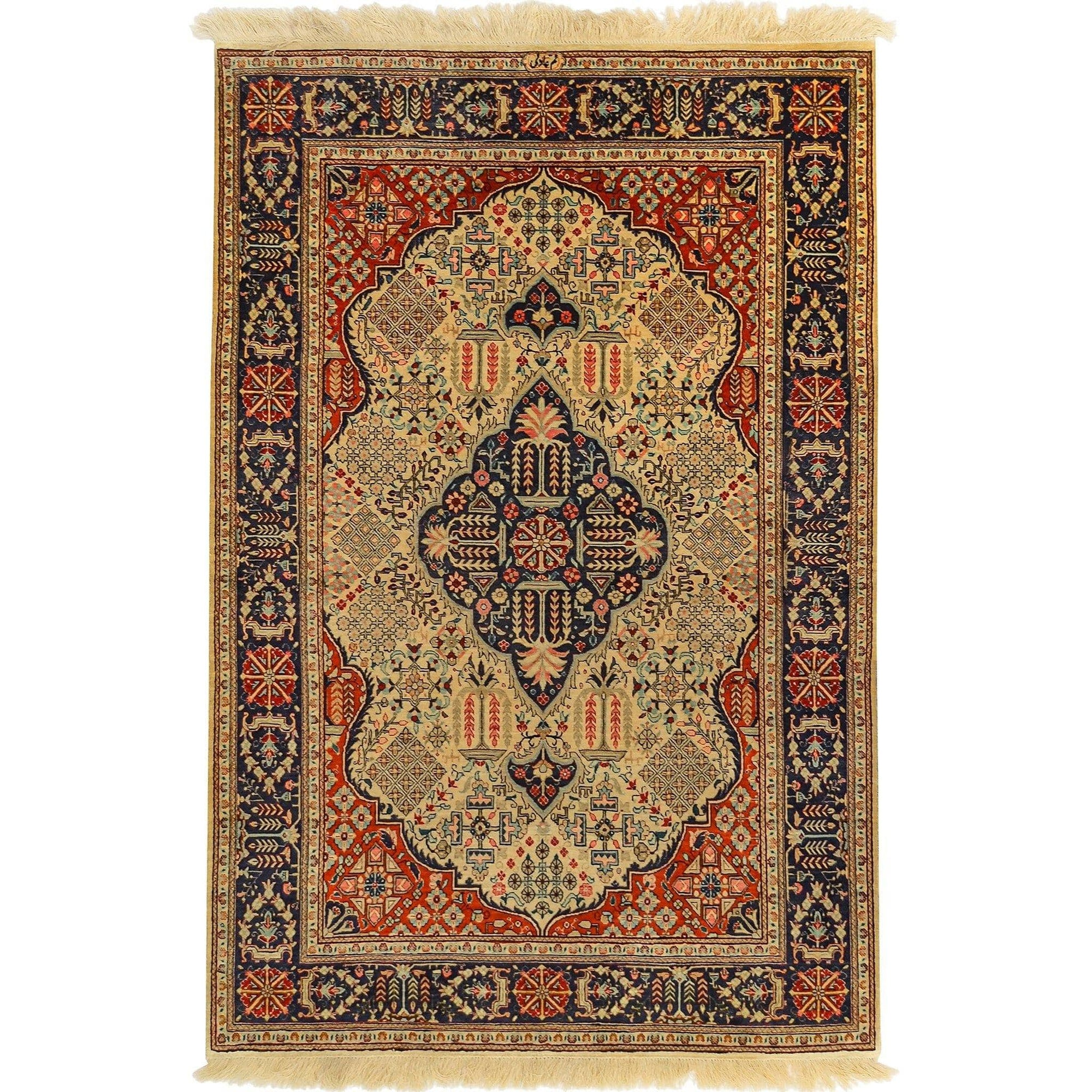 Super Fine Hand-knotted Pure Qom Silk Persian Rug 100cm x 154cm (SIGNED BY MASTER WEAVER) Persian-Rug | House-of-Haghi | NewMarket | Auckland | NZ | Handmade Persian Rugs | Hand Knotted Persian Rugs