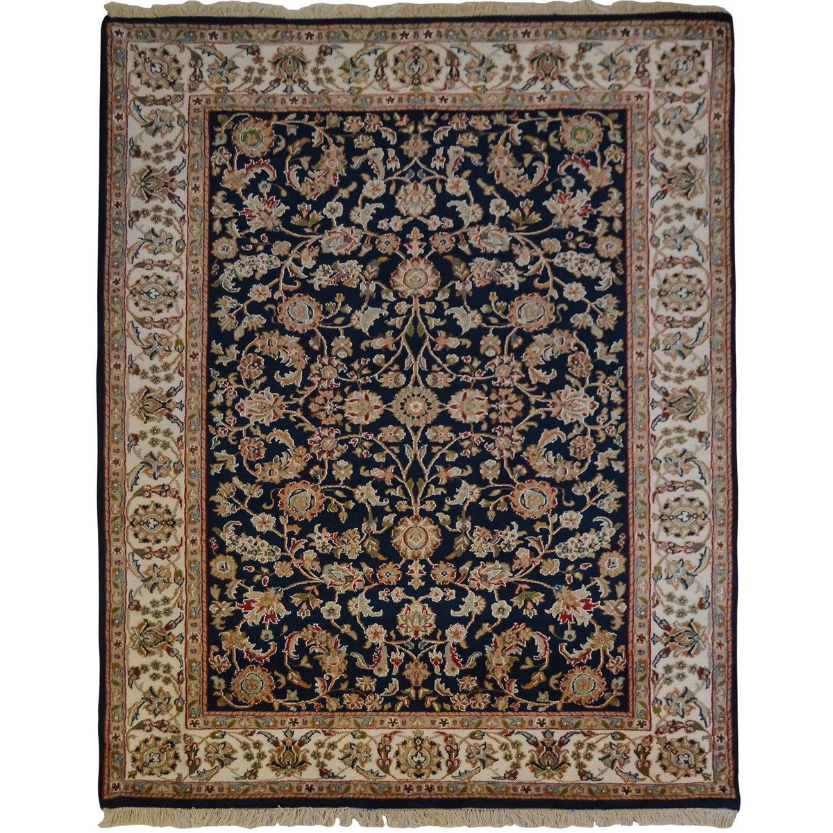 Fine Hand-knotted Wool & Silk Nain Rug 142cm x 203cm