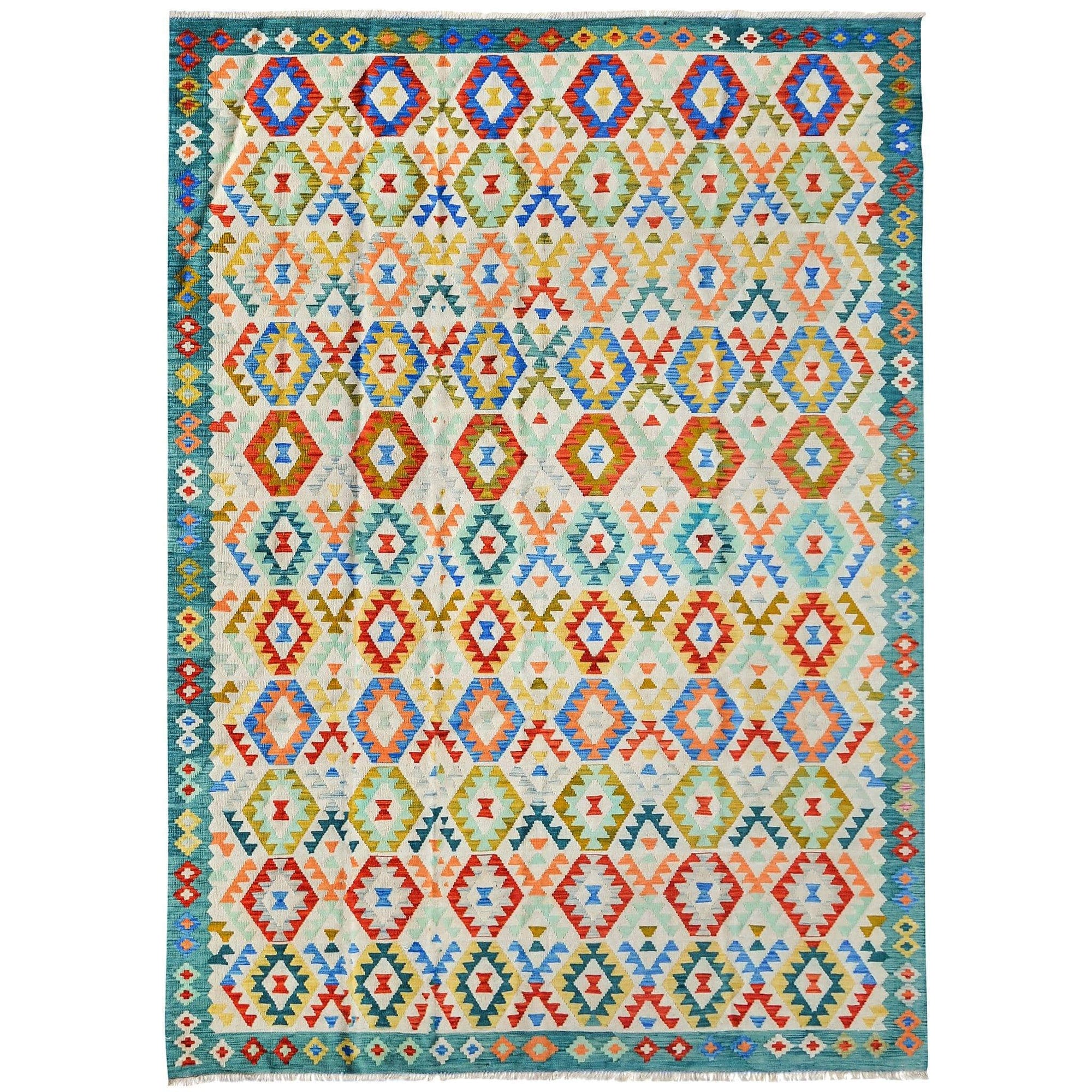 Large Modern Hand-woven Wool Chobi Kilim Rug 252cm x 337cm Persian-Rug | House-of-Haghi | NewMarket | Auckland | NZ | Handmade Persian Rugs | Hand Knotted Persian Rugs