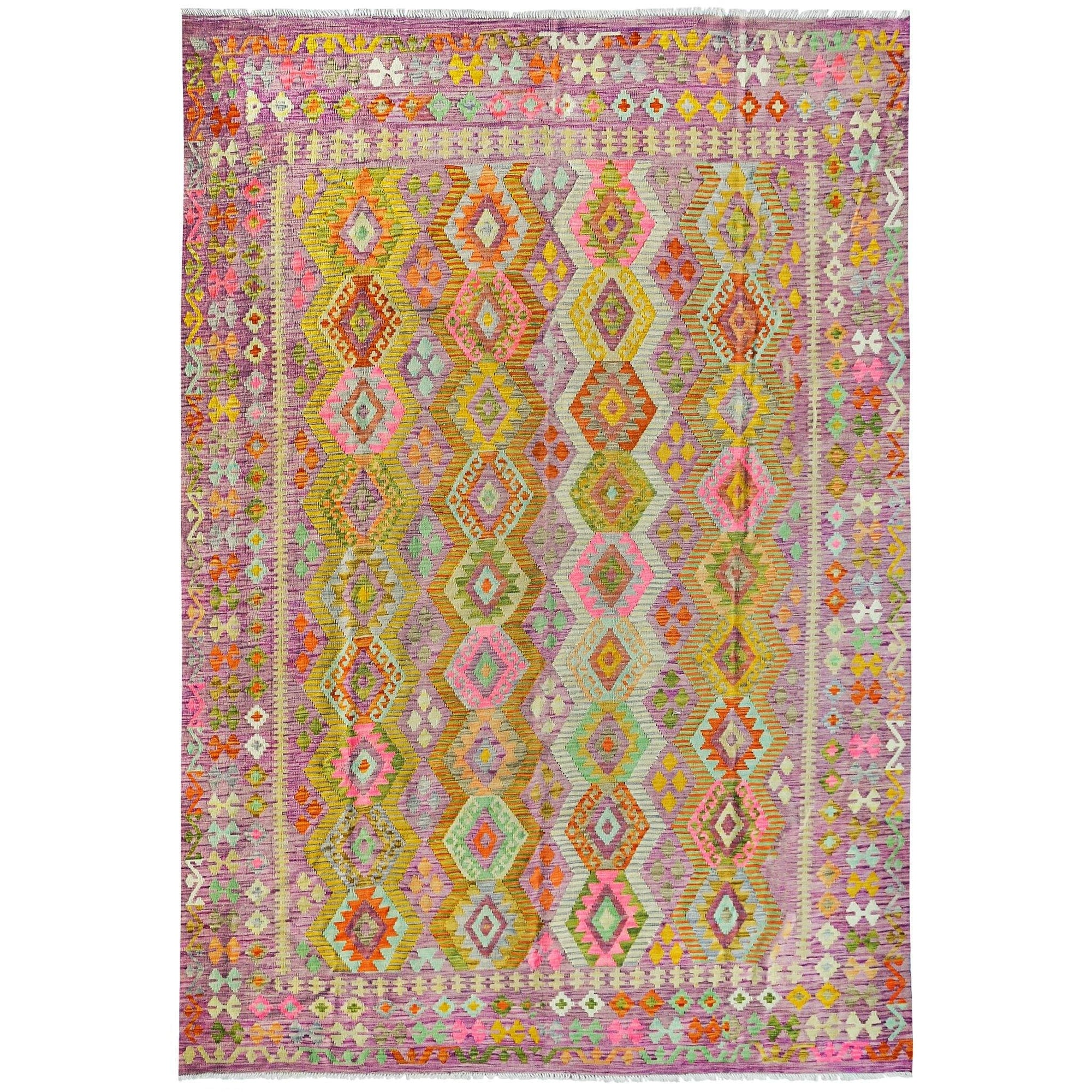 Extra Large Modern Hand-woven Wool Chobi Kilim Rug 253cm x 346cm Persian-Rug | House-of-Haghi | NewMarket | Auckland | NZ | Handmade Persian Rugs | Hand Knotted Persian Rugs