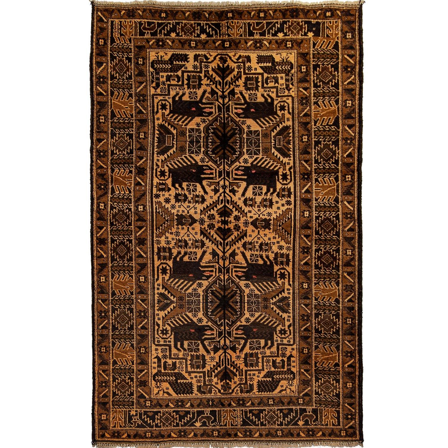 Vintage Hand-knotted Hand Spun Wool Baluchi Rug 115cm x 212cm Persian-Rug | House-of-Haghi | NewMarket | Auckland | NZ | Handmade Persian Rugs | Hand Knotted Persian Rugs