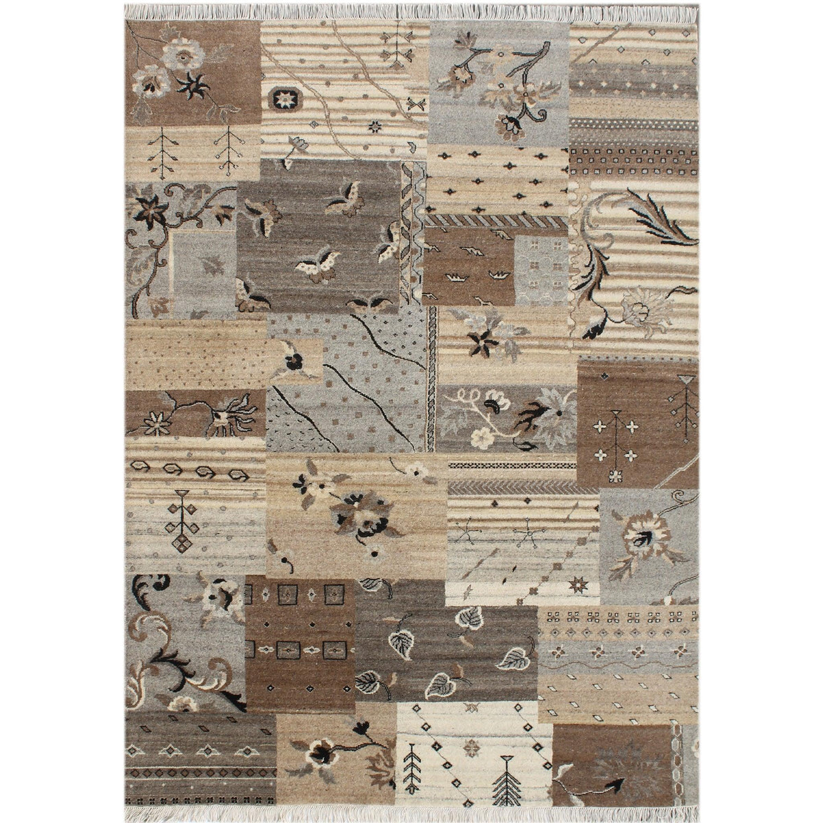Fine Hand-knotted Patch Weave Wool Modern Rug 171cm x 239cm