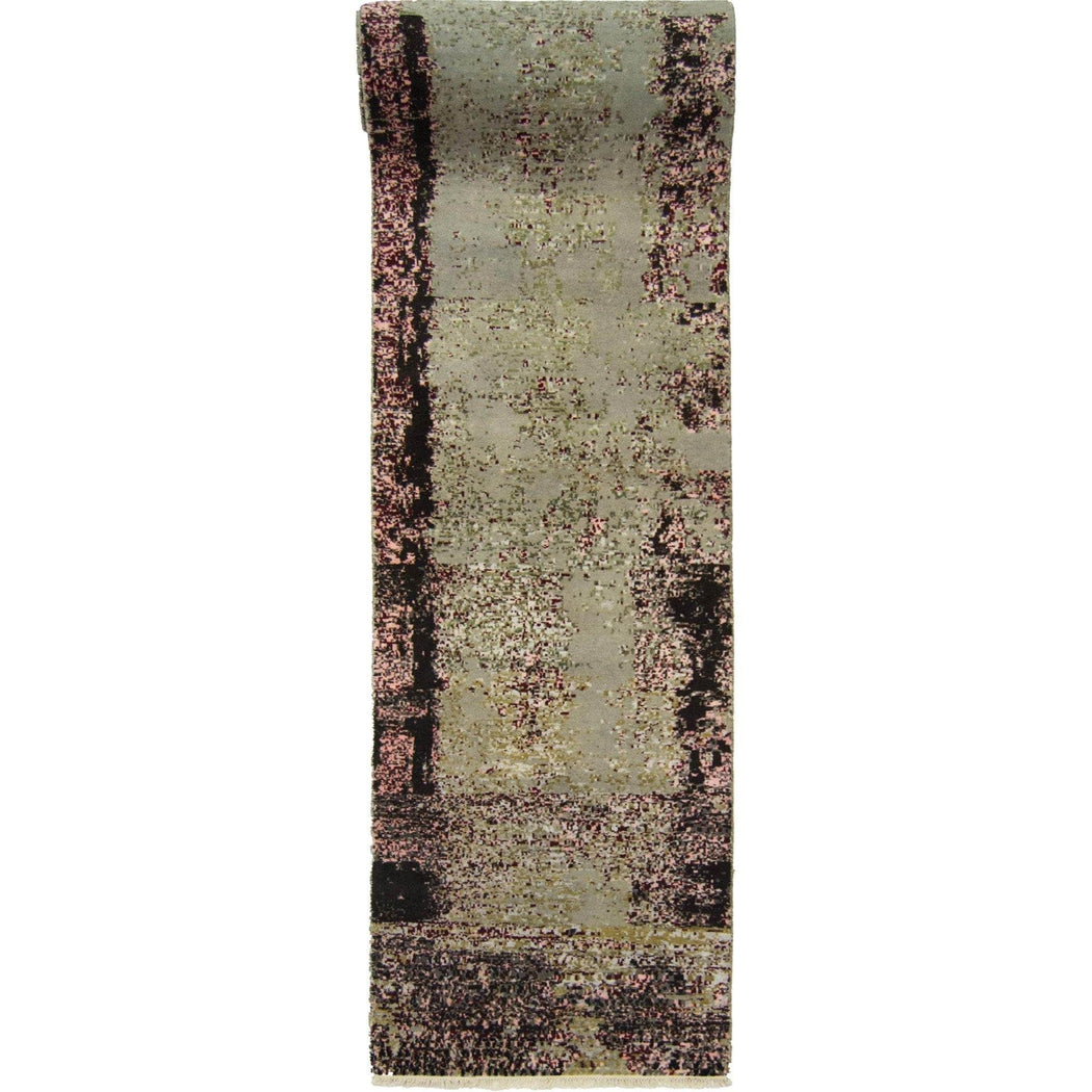 Modern Hand-knotted Wool and Bamboo Silk Galaxy Runner 93cm x 370cm - House Of Haghi