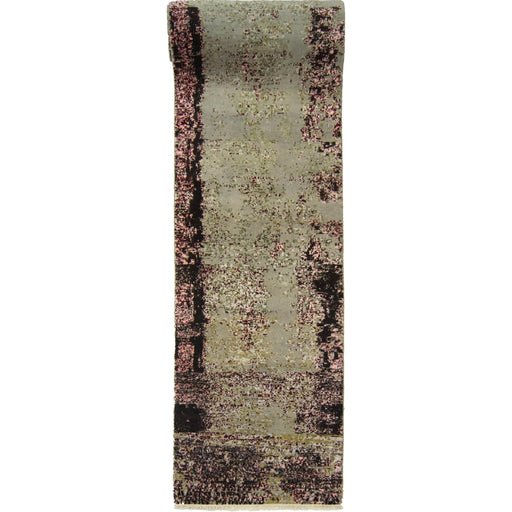 Modern Hand-knotted Wool and Bamboo Silk Galaxy Runner