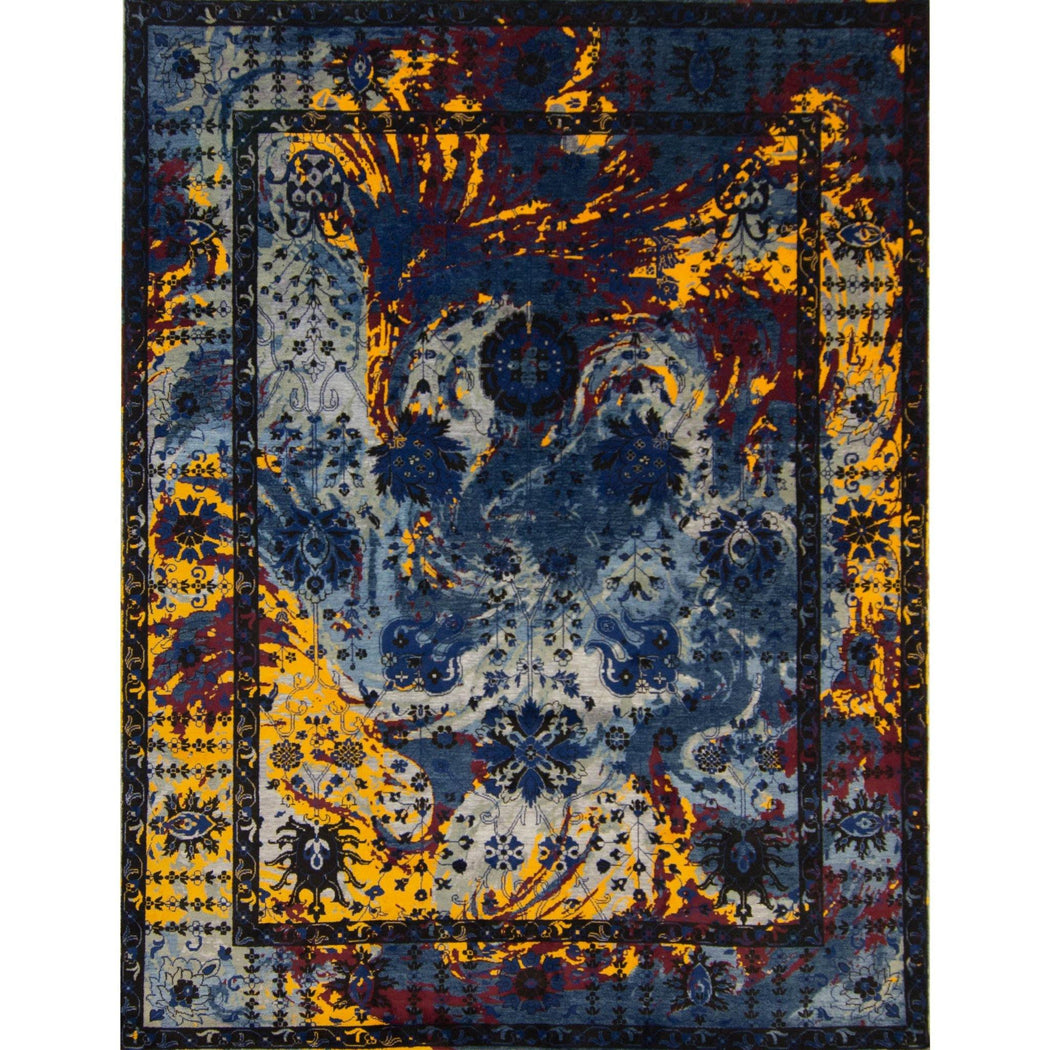 Modern Hand-knotted Wool and Silk Galaxy Rug 248cm x 310cm - House Of Haghi