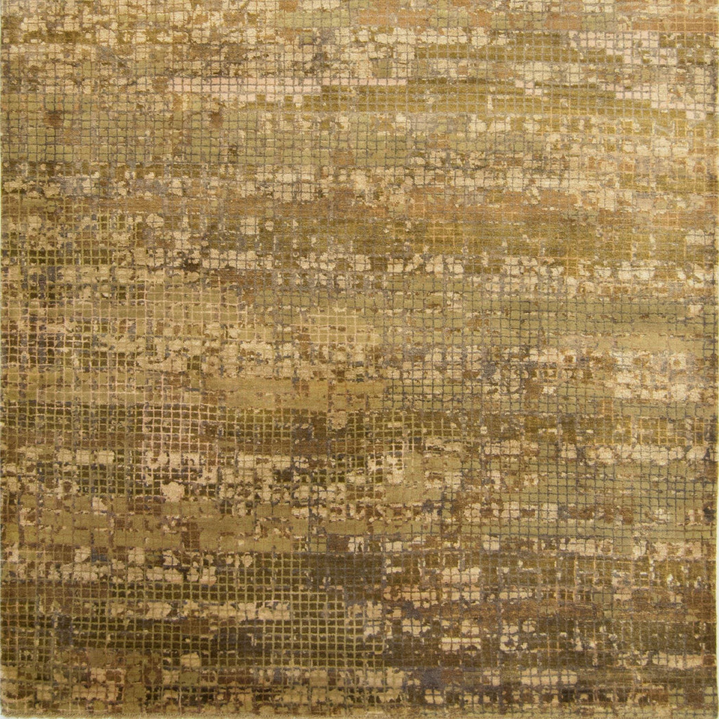 Modern Wool & Silk Mosaic Design Rug 173cm x 246cm - House Of Haghi