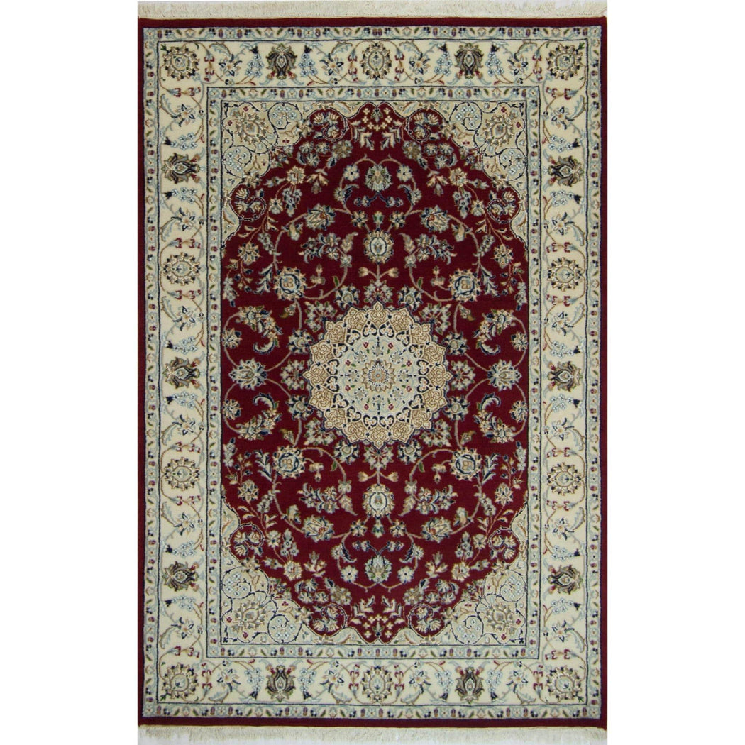 Fine Hand-knotted Wool & Silk Nain Rug - House Of Haghi