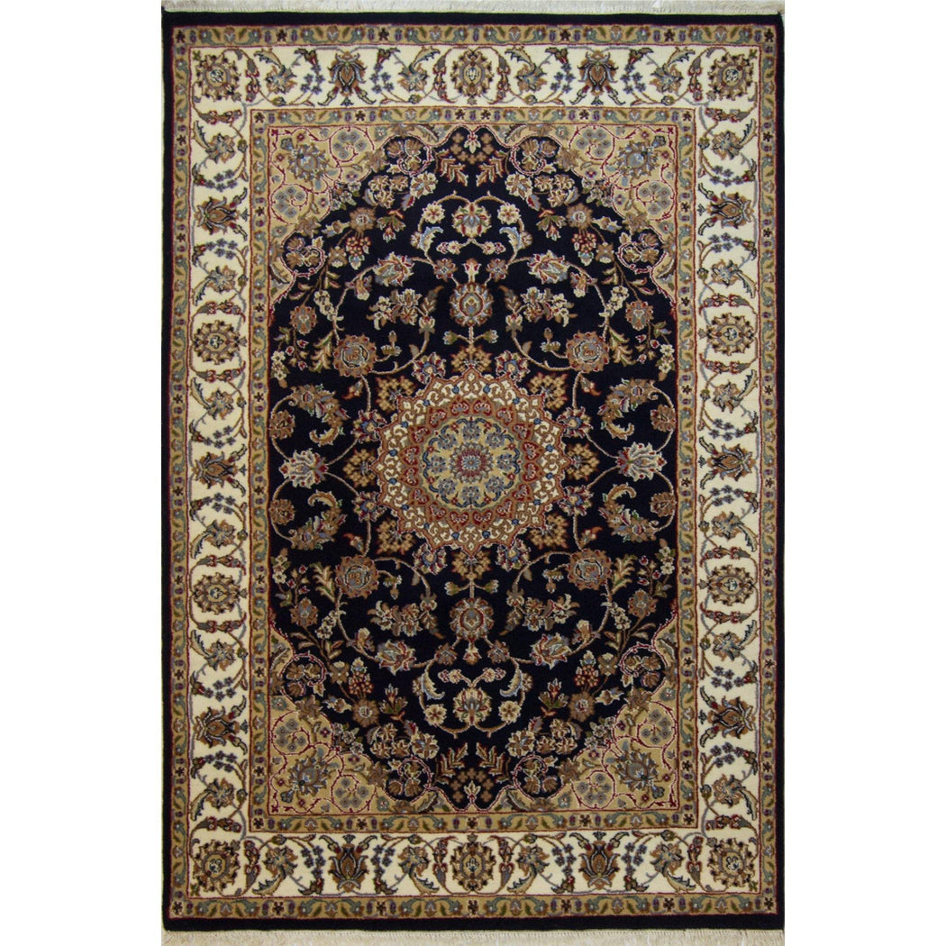 Fine Hand-knotted Wool & Silk Nain Rug 127cm x 190cm - House Of Haghi