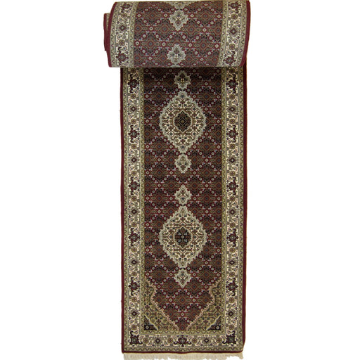 Super Fine Hand-knotted Wool and Silk Tabriz - Mahi Runner 85 cm x 802 cm - House Of Haghi