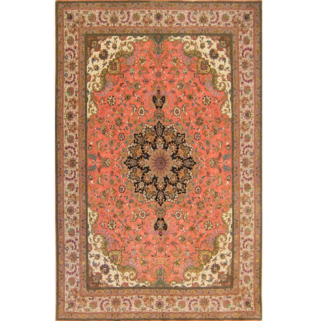 Fine Hand-knotted Wool and Silk Tabriz Rug 241cm x 350cm - House Of Haghi