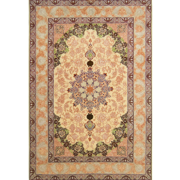 Genuine Super Fine Hand-knotted Persian Wool & Silk Isfahan Rug 156cm x 230cm - House Of Haghi
