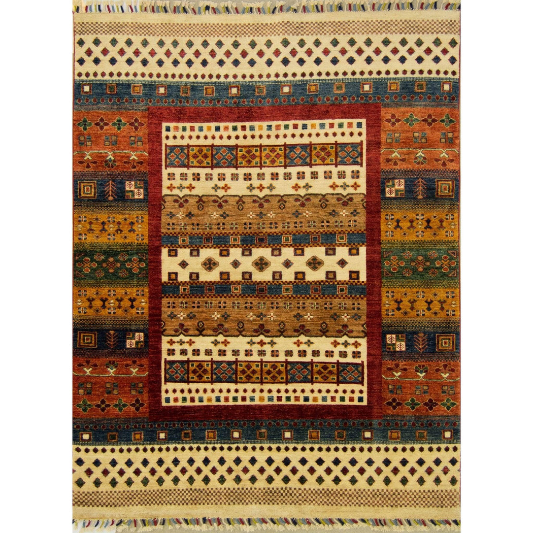 Hand-knotted Khorjin Wool Rug 151cm x 196cm - House Of Haghi