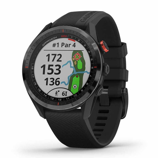 Garmin Approach S62 Premium GPS Golf Smartwatch - Black Ceramic Bezel with Black Silicone Band - Right Angle