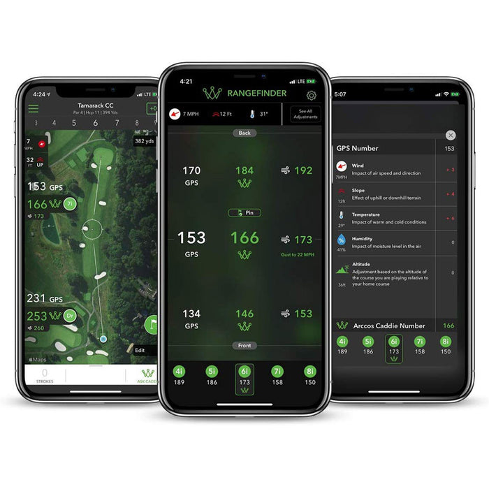 Smart Distance Club Averages, A.I. Powered GPS Rangefinder, Strokes Gained Analytics in the Arccos Caddie App