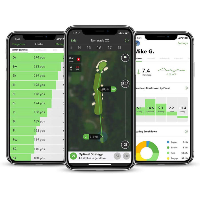 Arccos Caddie App Tracking Automatic Shot Tracking, Smart Distance Club Averages and Strokes Gained Analytics