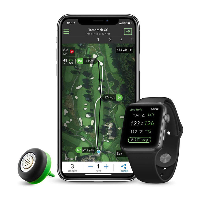 Arccos Caddie App Connected to Smartphone and Compatible Golf Watch