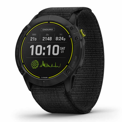 Garmin Enduro Ultraperformance Multisport GPS Watch - Carbon Gray DLC Titanium with Black UltraFit Nylon Band - Right Angle