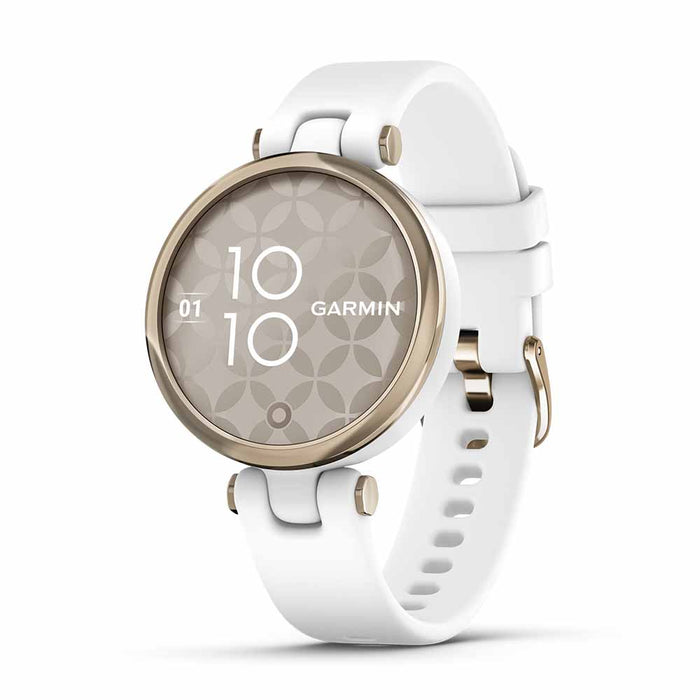Garmin Lily Sport Small Ladies Fitness Smartwatch - Cream Gold Bezel/White - Open Box - Right Angle