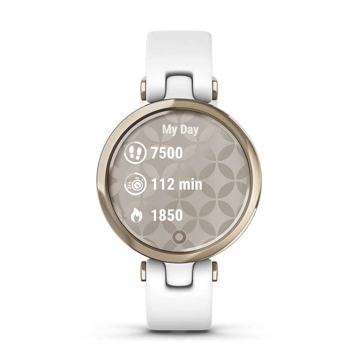 Garmin Lily Sport Small Ladies Fitness Smartwatch - Cream Gold Bezel/White - Open Box - Front Angle