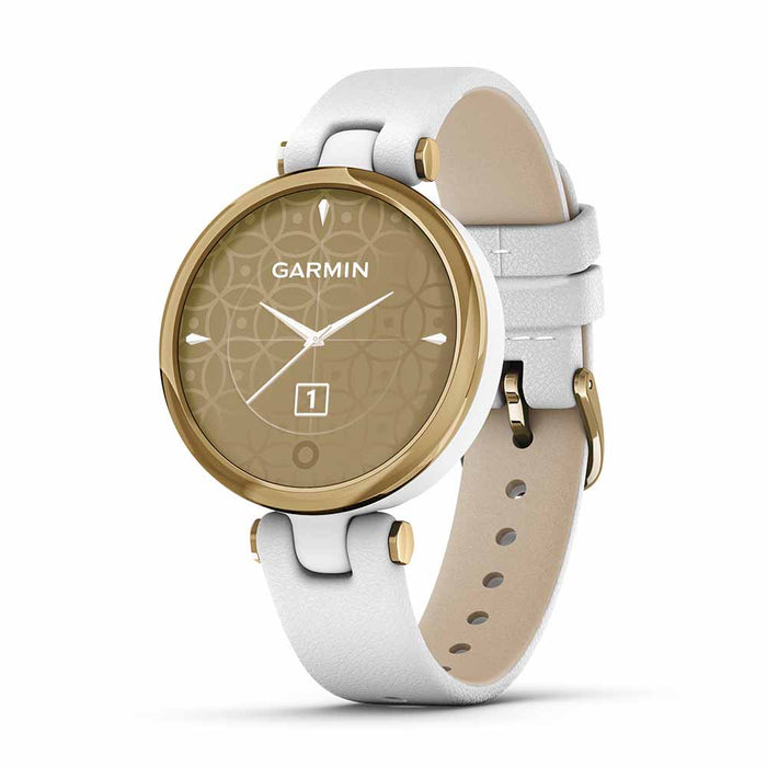 Garmin Lily Classic Women's Fitness Smartwatch - Light Gold/White - Open Box - Right Angle