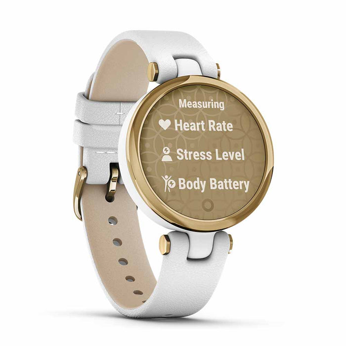 Garmin Lily Classic Women's Fitness Smartwatch - Light Gold/White - Open Box - Left Angle