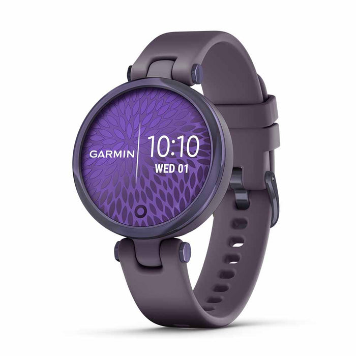 Garmin Lily Sport Small Smart Watch for Ladies - Midnight Orchid/Deep Orchid - Open Box - Right Angle