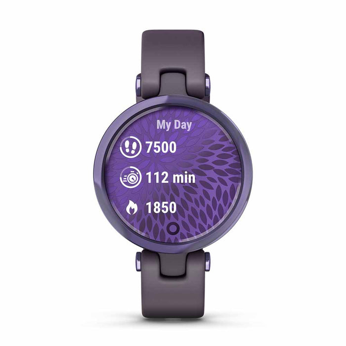 Garmin Lily Sport Small Smart Watch for Ladies - Midnight Orchid/Deep Orchid - Open Box - Front Angle
